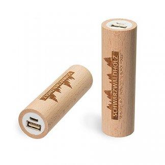 Chargeur nomade promotionnel en bois certifié - 2600mAh - Hêtre - Q-PACK ROUND