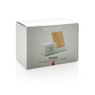 Chargeur promotionnel induction en bambou avec enceinte BT emballage personnalisé - ONTARIO
