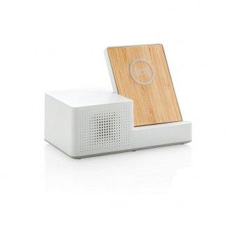 Chargeur publicitaire induction en bambou avec enceinte BT - ONTARIO