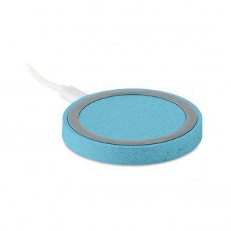 Chargeur sans fil par induction promotionnel en paille de blé - Bleu - PLATO