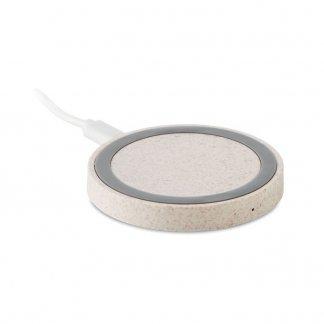 Chargeur sans fil par induction promotionnel en paille de blé - Naturel - PLATO