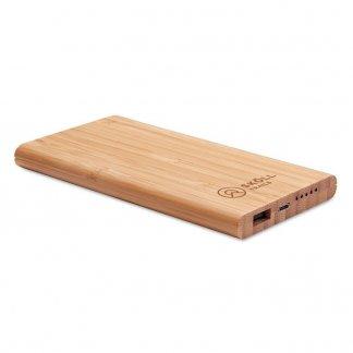 Chargeur sans fil publicitaire personnalisé et batterie nomade en bambou - ARENA
