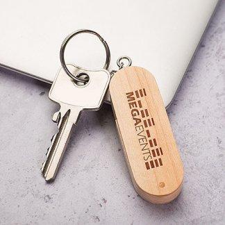 Clé USB ovale pivotante avec porte-clés personnalisable en bois - En situation - EXPERT