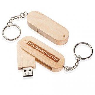 Clé USB ovale pivotante avec porte-clés publicitaire en bois - EXPERT