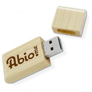 Clé USB publicitaire en bambou - ouverte - NATURA BAMBOU
