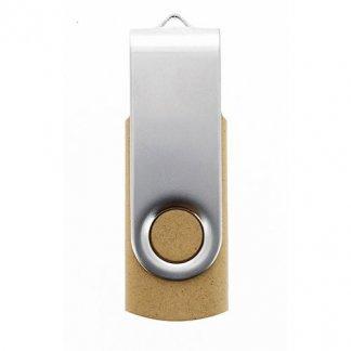 Clé USB publicitaire pivotante en fibres végétales + métal - fermée - VGMETTLE