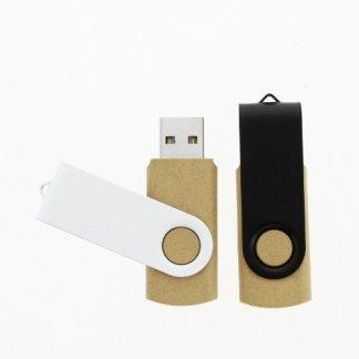 Clé USB publicitaire pivotante en fibres végétales + métal noir et blanc - VGMETTLE