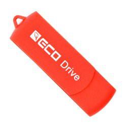 Clé USB publicitaire pivotante en plastique recyclé - rouge - ECO