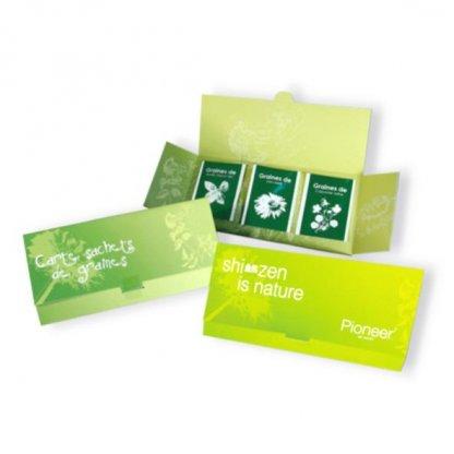 Coffret Avec 3 Sachets De Graines Personnalisée Vert COFGRAINE