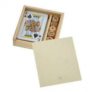 Coffret jeu de 54 cartes + 5 dés en bois publicitaire - JEFRI