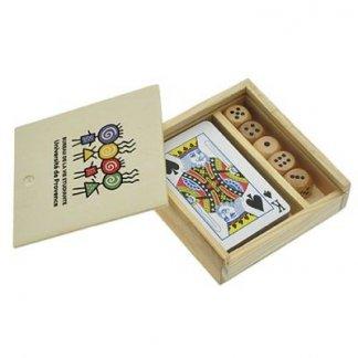 Coffret jeu de 54 cartes + 5 dés en bois publicitaire - ouvert - JEFRI