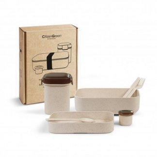 Coffret personnalisable boîtes repas en écorces de riz et polypropylène - présentation - LUNCHSET