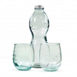 Coffret publicitaire 1 bouteille et 2 verres en verre recyclé - 1000ml - boîte - COMBIGLOU