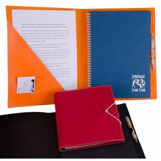 Conférencier A4, A5 promotionnel en cuir recyclé - ouvert-fermé - SCONF