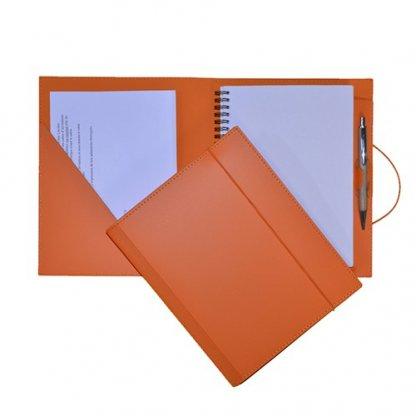 Conférencier A4 Et A5 Publicitaire En Cuir Recyclé Orange SCONF