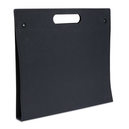 Conférencier A4 Publicitaire En Carton Recyclé Poignée Intégrée Noir ALBERTA