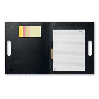 Conférencier A4 Publicitaire En Carton Recyclé Poignée Intégrée Noir Ouvert ALBERTA