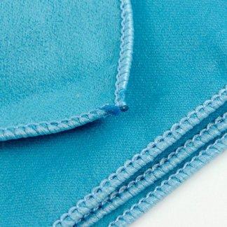 Drap de plage microfibre publicitaire en PET recyclé - zoom couture - bleu - POOL