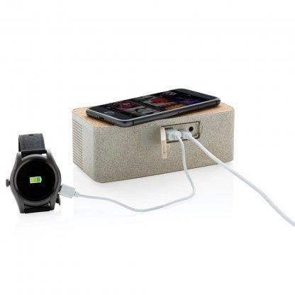 Enceinte Bluetooth Avec Chargeur Induction Personnalisable En Paille De Blé En Charge BADGEROD