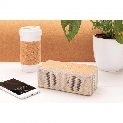 Enceinte Bluetooth Avec Chargeur Induction Personnalisable En Paille De Blé En Situation BADGEROD