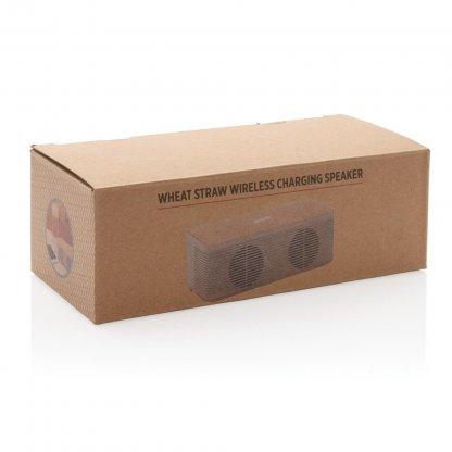 Enceinte Bluetooth Avec Chargeur Induction Personnalisé En Paille De Blé Boite BADGEROD