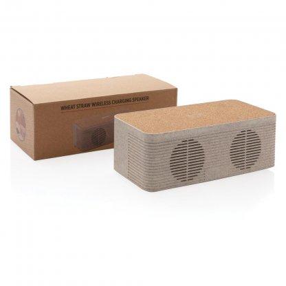 Enceinte Bluetooth Avec Chargeur Induction Promotionnel En Paille De Blé Avec Boite BADGEROD