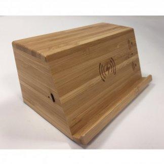 Enceinte bluetooth avec chargeur induction promotionnelle en bois - arrière - WOODSONG