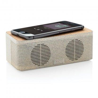 Enceinte Bluetooth Avec Chargeur Induction Publicitaire En Paille De Blé Avec Téléphone BADGEROD