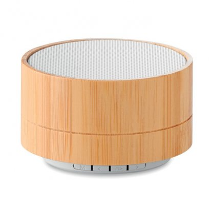Enceinte Bluetooth Personnalisée En Bambou Blanc LIGHTSONG