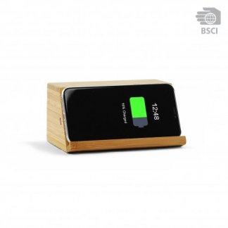 Enceinte bluetooth publicitaire avec chargeur téléphone induction en bois - WOODSONG