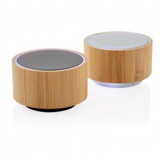 Enceinte bluetooth publicitaire en bambou - 3W - 2 couleurs - ROUND SOUND