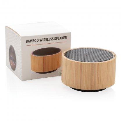 Enceinte Bluetooth Publicitaire En Bambou 3W Avec Boite ROUND SOUND