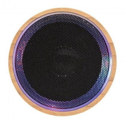 Enceinte Bluetooth Publicitaire En Bambou 3W Dessus ROUND SOUND