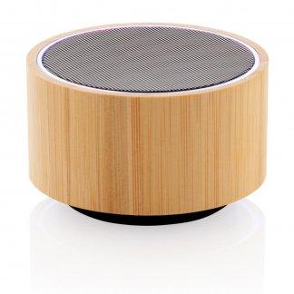 Enceinte bluetooth publicitaire en bambou - 3W - Noir - ROUND SOUND