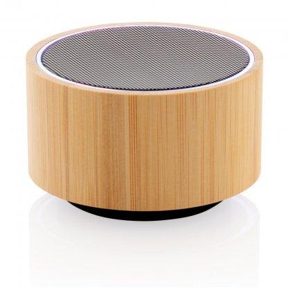 Enceinte Bluetooth Publicitaire En Bambou 3W Noir ROUND SOUND