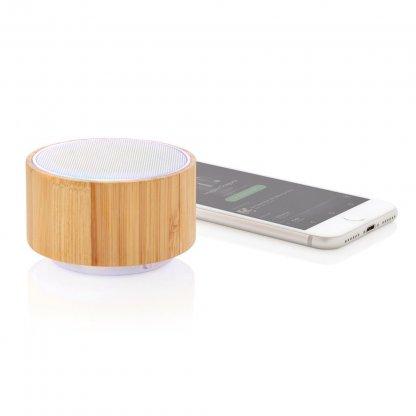 Enceinte Bluetooth Ronde Personnalisable En Bambou 3W ROUND SOUND