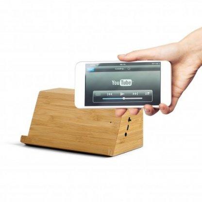 Enceinte Interactive Bluetooth Personnalisable Avec Chargeur Induction En Bois WOODSONG