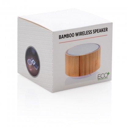 Enceinte Publicitaire Bluetooth En Bambou Emballage 3W ROUND SOUND