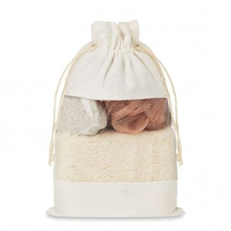 Ensemble de bain dans sac en jute promotionnel - CUIDA SET