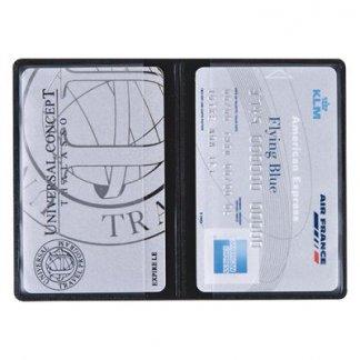 Etui 2 cartes de crédit publicitaire en PVC - 2 poches verticales - Ouvert