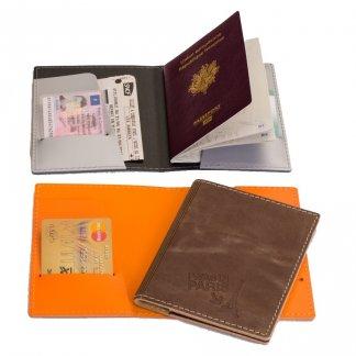 Etui passeport et cartes de crédit publicitaire en cuir recyclé - TRIPASSEPORT