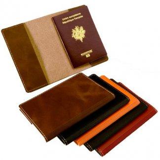 Etui passeport publicitaire en cuir recyclé - SYNPASSEPORT