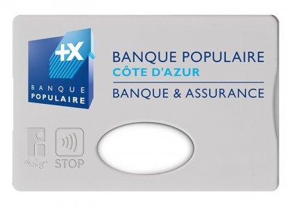 Etui Rigide Pour Carte De Crédit Anti RFID Publicitaire En Plastique Polystyrène Gris Avec Marquage