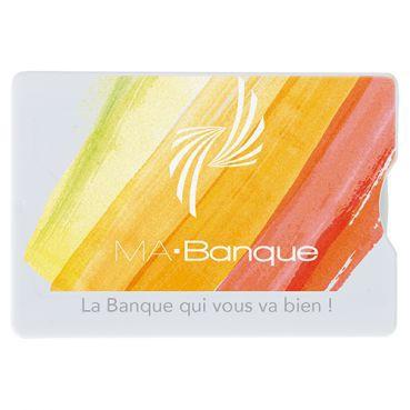 Etui Rigide Publicitaire Pour Carte De Crédit Anti RFID En Polycarbonate Marquage Quadri