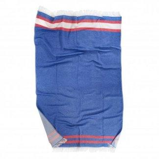 Fouta personnalisable en coton RECOVER et polyester SEAQUAL - 100x170cm - dépliée - BLUEFOUTA
