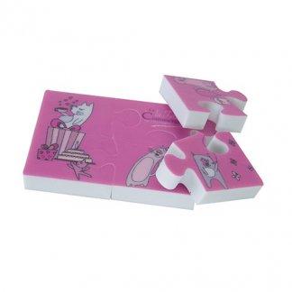 Gomme blanche puzzle publicitaire à votre forme - rose - GOPUZZLE