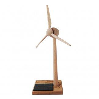 Grande éolienne solaire publicitaire en bois à monter