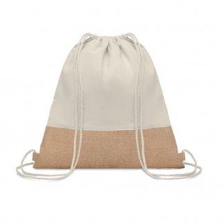 Gym bag personnalisable en coton et toile de jute - 160g - 38x41cm - cordons - INDIA