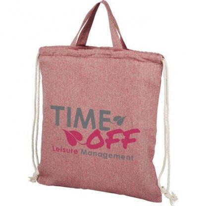 Gym Bag Personnalisable En Coton Recyclé Avec Poignées 150g 38x42cm Logo Rose PHEEBAS