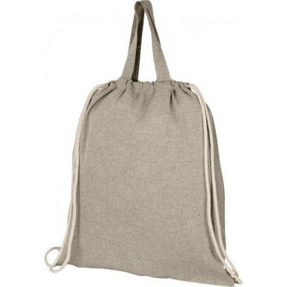 Gym Bag Personnalisable En Coton Recyclé Avec Poignées 150g 38x42cm Plissé Beige PHEEBAS